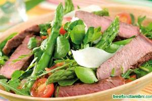 Warm beef salad with cherry tomato dressing, asparagus and parmesan