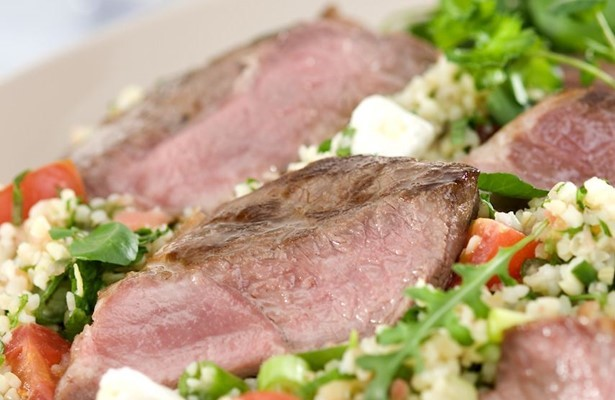 Grilled lamb and tabbouleh with Feta cheese