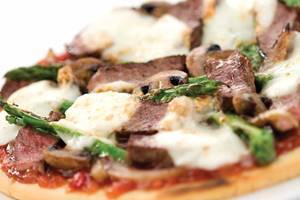 Beef and vegetable pizza