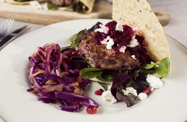 Lamb, beetroot and feta burgers with  flatbread and pink slaw