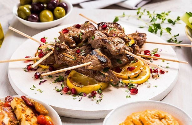 Skewered lamb sharing plate